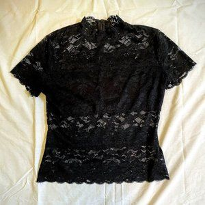 GUESS Black Lace Mock-Neck Shayna Top Medium